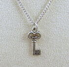 Pewter Skeleton Key Charm on Link Necklace - 0163