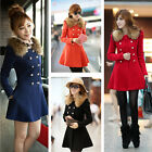 Winter Womens Woolen Coat Double Breasted Faux Fur Collar Outerwear Jacket Parka