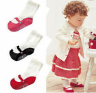 3 Lot Infant Baby Socks Anti Slip Solid Toddlers Cotton Newborn Booties 3-12M US