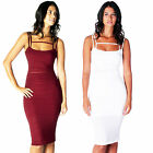 AJ52 Ladies Mesh Panel See-Through Womens Strappy Slim Fit Bodycon Midi Dress