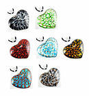 Handwork Gold Dust Heart Lampwork Art Murano Glass Pendant Necklace Fashion Gift