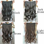 "Hot Fashion Women One Piece Long Wavy Curly Hair Clip-on Wig 22"" Brown Black"