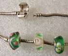 "Silver Tone European Charm Bracelet  with 3 Starter Beads - Greens 9""/23cms"
