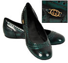 $560 BARCLAY GUCCI BALLERINA FLATS SHOES LEATHER BLACK / GREEN sz 37 / 7