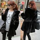 Women Ladies Fluffy Fur Coat Jacket Black Hoodied Parka Outwear Winter Size 8-16
