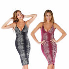 AJ74 Ladies Glitter Snake Skin Print Womens Plunge Midi pencil Bodycon Dress
