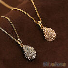 WOMENS CHIC STUNNING GOLD PLATED SILVER PLATED CRYSTAL TEARDROP PENDANT NECKLACE