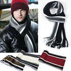 Mens Classic Fashion Striped Knitted Scarf Warm Winter Stripes Tassel Scarves
