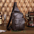 Men Vintage Geunine Leather Travel Messenger Shoulder Back Pack Sling Chest Bag