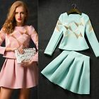 2 pcs 2015 Autumn Women's Long Sleeve Geometric Pattern Dresses Clothing Set