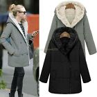 Warm Women's Thicken Fleece Faux Fur Winter Coat Hood Parka Long Jacket Overcoat