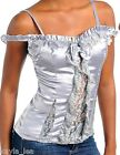 Silver/Gray Satin Ruffle/Lace Inset Front Off Shoulder Cami Top S/M/L