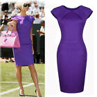 Womens Celebrity OL Purple NEW 2015 Tunic Party Gown Pencil Bodycon Wiggle Dress