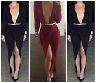 Womens Middle Slit High Waist Long Sleeve Dress Deep Cleavage V Neck Maxi Split