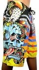BRAND NEW ED HARDY MEN'S SURREAL STRIPES LIME BOARD SHORTS SWIM SURF TRUNKS