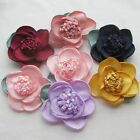 E242 Large Ribbon Flower Bows w/leaf  Wedding Decor Appliques 6/30pcs Lots Upick
