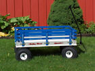 """LARGE 40"""" Wagon Beach Park Trail Child Toddler Wooden Poly Pull Toy Amish USA"""