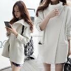 New Women's Overcoat Jacket Wool Trench Coat White Warm Thicken Parka  S M L SH