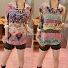 Women Vintage Floral Printed T Shirt Summer 3/4 Sleeve Tee Blouse Tops S M L XL