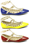 Patent Pointy Toe Pyramid Studded Ankle T Strap Sandal Flats Wild Diva Pippa-35