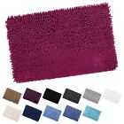 Shaggy Microfibre Bathroom Shower Bath Mat Rug Non-Slip Backing - 12 Colours