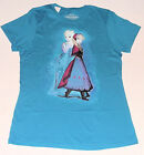 NEW Disney Frozen Script Anna & Elsa Teal Blue Tshirt Size L or XL True Love