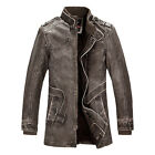 New Vintage Men PU Leather Long Trench WinterCoats Jackets Parka Peacoat DOWN IN