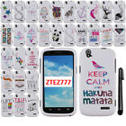 For ZTE Grand X Z777 Art Cute Design PATTERN HARD Case Phone Cover + Pen