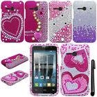 For Alcatel OneTouch Evolve 2 4037T DIAMOND BLING CRYSTAL HARD Case Cover + Pen