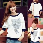 Womens Fashion Crew Neck 3/4 Sleeve Owl Pattern T-shirt Cute Animal Pattern Tops