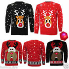 Womens Mens Reindeer Rudolph Novelty Light Up Flashing Christmas Jumpers Sweater