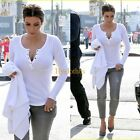 Kim Kardashian Long Sleeve Sexy Comfy CottonBlend Tops Blouse Casual T-shirt B30