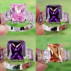 High quality Morganite Amethyst pink topaz gems sterling Silver Ring #78 9 10