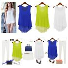 Chiffon Women Peplum Frill Bodycon Casual Party Tank Shirt Tops Blouse 3 Colors