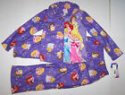 Nwt New Disney Princess Christmas Pajamas Sleepwear Purple Flannel Cute Girl