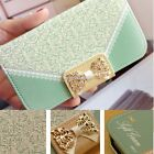 New Lace Bow Leather Wallet Card Holder Flip Case Cover For iPhone 4 4s 5 5s 6 S
