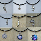 Vintage Cosmos Animal Charms Pendant Necklace Leather Choker Antique Silver