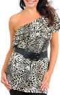 Sexy Cheetah Ruffled One Shoulder Belted Plus Party Club Cruise Tunic Top