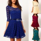 Sexy Womens Ladies Spoon Neck Belted 3/4 Sleeve Lace Skater Peplum Dress Top