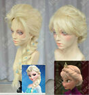 Disney Princess Frozen Snow Queen Elsa Light Blonde Braids / Flaxen Hair Cos Wig