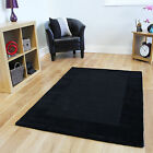 Thick Ultra Soft Black Bordered Modern Rugs Easy Clean 100% Wool Small Large Rug