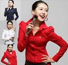 Button-Front Shirts Bodysuit Long Sleeve Blouse Top Red/ Blue -S M L XL