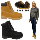 LADIES WOMENS LACE UP FUR LINED ANKLE BOOTS CASUAL BIKER HIKER WORKER BOOTS SHOE