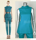$895 GUCCI TOP TURQUOISE BLUE STRETCH FLANNEL SLEEVELESS WOOL CASHMERE