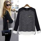 Personality Girl Long Sleeve Back Zip Shirt Sexy Crewneck Loose Tops Blouse - LA