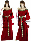 Medieval Maid Marian Red Velvet Fancy Dress Gown Costume - 10 12 14 16 18 20 22