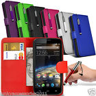 PU Leather Book Wallet Flip Case Skin Cover Screen Protector for Vodafone Phones