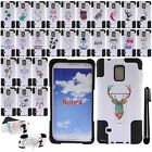 For Samsung Galaxy Note 4 N910 White/Black KICKSTAND HYBRID Case Cover + Pen