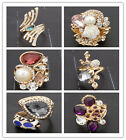 Fashion Women  Gold Plated Crystal Pearl Ring Jewelry size7/7.5/8/8.5/9/9.5/10