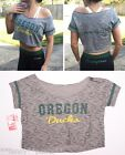 NWT Womens OREGON DUCKS off shoulder cropped half shirt burnout crop top S or M